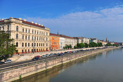 Riverside of Budapest city centre on Danube, Hungary Royalty Free Stock Photography