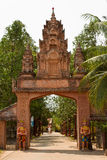 A riverside Buddhist temple entrance of Kampot, Cambodia Royalty Free Stock Images