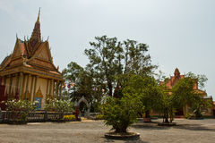 A riverside Buddhist temple of Kampot, Cambodia Royalty Free Stock Images