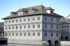 Riverside Building. Large town house style building by river Zurich royalty free stock photography