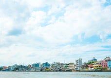 Riverside building landscape ,Thailand Stock Photos