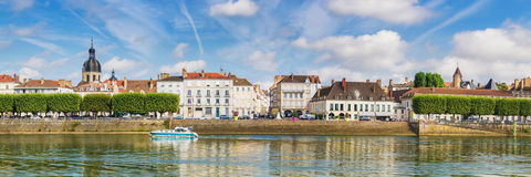 Riverside Chalon-sur-Saone, France. Panorama of Chalon-sur-Saone, France stock photography
