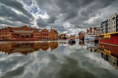 The riverside with the characteristic promenade of Gdansk, Poland. Royalty Free Stock Photo