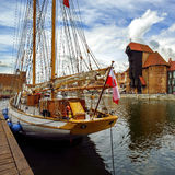 The riverside with the characteristic promenade of Gdansk, Poland Royalty Free Stock Images