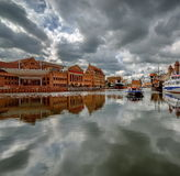 The riverside with the characteristic promenade of Gdansk, Poland Royalty Free Stock Image