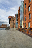 The riverside with the characteristic promenade of Gdansk, Poland. Royalty Free Stock Images