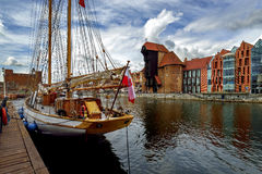 The riverside with the characteristic promenade of Gdansk, Poland. Royalty Free Stock Photography