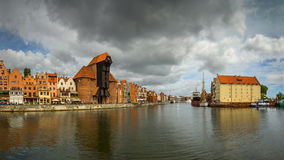 The riverside with the characteristic promenade of Gdansk, Poland. Stock Photo
