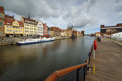 The riverside with the characteristic promenade of Gdansk, Poland. Stock Images