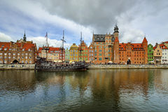 The riverside with the characteristic promenade of Gdansk, Poland. Stock Image