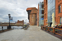 The riverside with the characteristic promenade of Gdansk Stock Photo