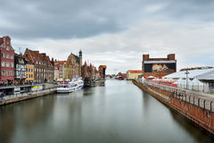 The riverside with the characteristic promenade of Gdansk Royalty Free Stock Image