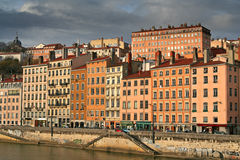 Riverside city houses. By the saone river in lyon, france royalty free stock image