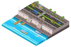 Riverside city isometric 3D vector illustration of waterfront town map with cars and river ferry boat pier. Riverside city isometric 3D vector illustration of Royalty Free Stock Photos