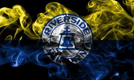 Riverside city smoke flag, California State, United States Of Am. Erica Royalty Free Stock Images