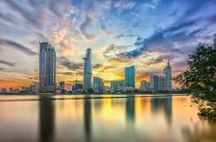 Riverside City sunset clouds Stock Photos
