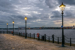 Riverside Cobbled Footpath at Sunset Stock Photography
