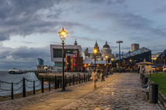 Riverside Cobbled Footpath at Twilight Royalty Free Stock Photography