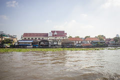 Riverside Community Chao Phraya River in Bangkok Royalty Free Stock Image
