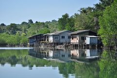 Riverside community. The riverside community in Eastern ,Trat province,Thailand Stock Photos
