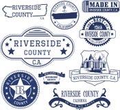 Riverside County, CA Grupo de selos e de sinais ilustração do vetor