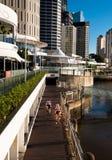 Riverside cycleway & buildings in Brisbane Stock Images