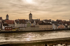 Riverside of the Danube river in Regensburg, Germany v1 Stock Photos