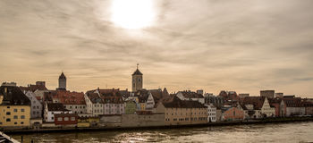 Riverside of the Danube river in Regensburg, Germany v2 Royalty Free Stock Photography