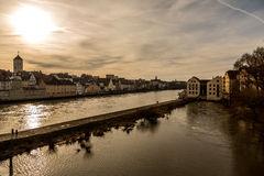 Riverside of the Danube river in Regensburg, Germany v3 Royalty Free Stock Image