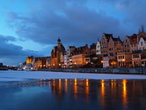 Riverside at dawn in Gdansk, Poland. Royalty Free Stock Images