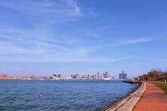 Riverside of Detroit river stock image