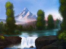 Riverside - Digital Landscape Painting. Digital landscape painting of a small waterfall flowing beneath a snow-covered mountain Royalty Free Stock Images