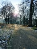 Riverside essen. Winter at the banks of river ruhr essen Stock Photography