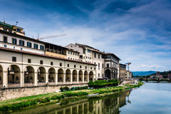 Riverside in Florence. The riverside of Florence known as Lungarno Royalty Free Stock Images
