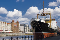 Riverside of Gdansk. View of the river Motlawa in Gdansk Royalty Free Stock Photos