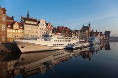 Riverside of Gdansk at dawn. The riverside with the characteristic crane of Gdansk, Poland Royalty Free Stock Photos