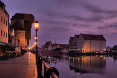 Riverside of Gdansk at dawn. The riverside with the characteristic crane of Gdansk, Poland Stock Images