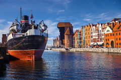 Riverside of Gdansk. View over the river Motlawa the Old Town in Gdansk, Poland Royalty Free Stock Images