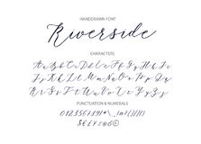 Riverside - handwritten Script font. Hand drawn brush style modern calligraphy cursive typeface. Vector Brush type set Royalty Free Stock Photos