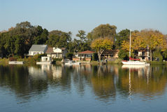 Riverside homes Royalty Free Stock Photography
