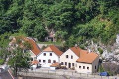 Riverside homes in cesky krumlov Royalty Free Stock Photos