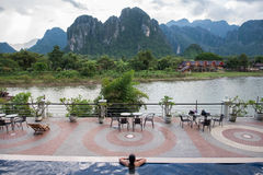 Riverside Hotel in Vang Vieng Stock Photo