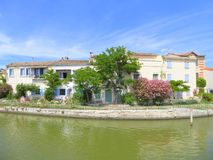 Riverside houses and gardens in France Royalty Free Stock Photography