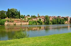 Riverside houses and Tarn river  in Albi Stock Image