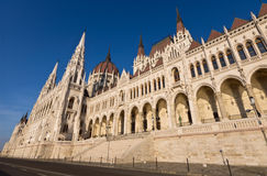 Riverside of the hungarian Parliament in Budapest Royalty Free Stock Images
