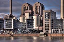 Riverside Industry. Industrial Power Station, River Main, Frankfurt Royalty Free Stock Photography