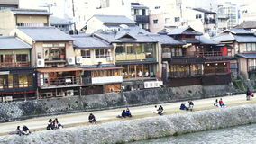 Riverside in Kyoto, Japan with lot of architectures and buildings stock footage