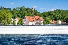 Riverside of Landberg at the river Lech Stock Image