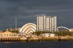 Riverside landmarks at sunset in Glasgow, Scotland Royalty Free Stock Photo