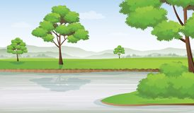 Riverside Landscape with Mountains Row In Horizon, Vector Illustration. River and Valley Landscape with Meadow and Mountains In Summer Day Stock Image